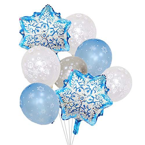 Globos de copo de nieve de Frozen, color plateado y azul claro, decoraciones para invierno, Navidad y fiesta de cumpleaños