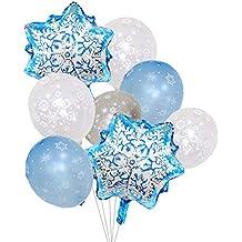Globos de copo de nieve de Frozen, color plateado y azul claro, decoraciones para