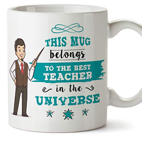 MUGFFINS (Taza en inglés) Teacher Original Mug Cup Taza Pertenece al Mejor Profesor del Universo: 11 oz de cerámica