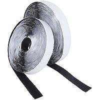 Meersee gancho y cinta de velcro,8M Self adhesivo Hook and Loop strips Conjunto con Pegamento Pegajoso Nylon ,20 mm de Ancho, Negro
