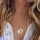 Weiy Runde Kreis Weltkarte Design Anhänger Halskette Mode Vintage Charming Stilvolle Elegante Schlüsselbein Kette Halskette Schmuck Geschenk Für Frauen Mädchen