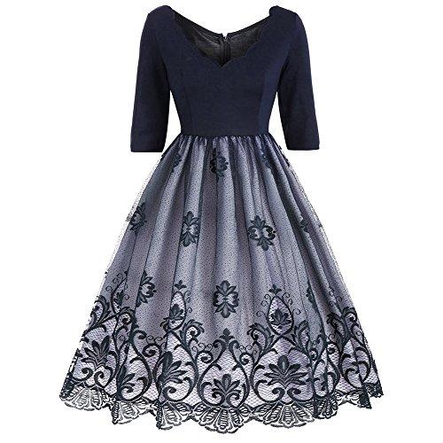 Là Vestmon Frauen Spitzenkleider Half Sleeve Spitze Flared Plissee Swing Hepburn Audrey Damen Kleidung 1950er Kleider Vintage Prom Partykleid (70er-jahre-stil Damen Kleidung)