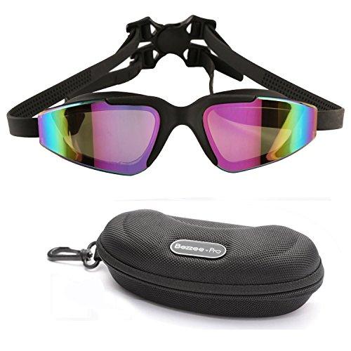 Gafas de natación 100% Protección UV por Bezzee-Pro lentes ahumados de clara visión anti-niebla anti-ruptura de alta calidad correa doble con hebilla de cierre que asegura un ajuste excelente incluye un estuche de viaje y tapones de oídos. (negro)