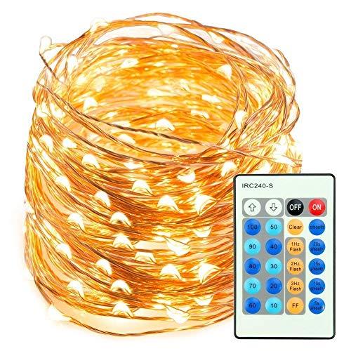 Taotronics catene luminose 20m stringa luci led impermeabile ip65 da 20 metri con livello di luminosità 200 per uso interno ed esterno per decorazioni festive e natale