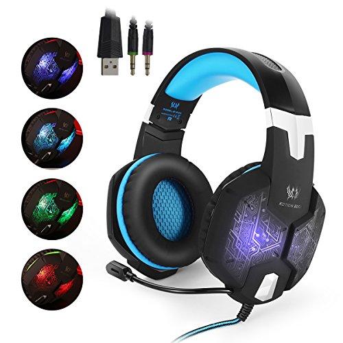EasySMX G1000 Auriculares de Juegos para PC con Micrófono, 3.5mm Jack Profesional para Videojuegos PC, MAC y Móvil, Gaming Headset con Cable, Variada LED Luz de Respiración y Control del Volumen y una Tocla-Mute (Negro+Azul)