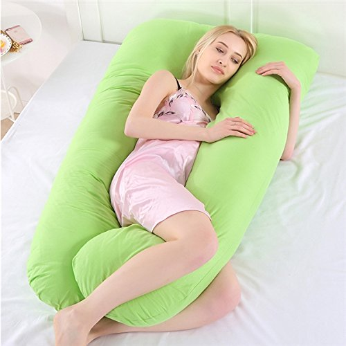 """OurLeeme Comfort U Almohada de Cuerpo Completo para el Embarazo, Verde, Longitud 50cm, Ancho 50cm, Altura 30cm, Altura de la Base de la Almohada: 15.1-20cm / 5.9-7.9"""""""