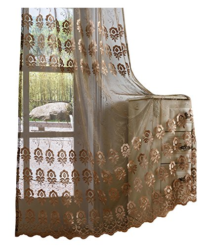 Aside bside - tende semitrasparenti in tulle e voile con motivo floreale ricamato, per soggiorno, poliestere e misto poliestere, coffee 12, 50w x 72l inch, 1 panel