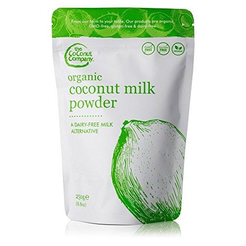 Paquete de 250g de leche de coco en polvo Premium pura, sin lactosa y sin gluten hecha de leche de coco recién exprimida. Sin transgénicos, halal, kosher y apto para veganos. Contiene un 65% de aceite de coco.
