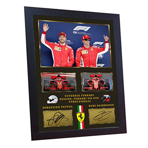 SGH SERVICES Sebastian Vettel Kimi RaikkonenFerrari Formel 1 signierter Autogramm Memorabilia MDF-Rahmen