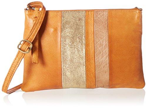 PIECES Damen Pcshantay Leather Cross Body Schultertasche, 1x18x26 cm Mehrfarbig (Cognac)