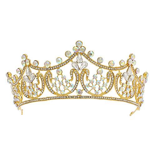 Q_xntsl Hochzeit Krone kreative Haar-Accessoires Mode High-End-Braut Krone Europa und Amerika AB Farbe Diamant große Krone Hochzeit Zubehör, 1