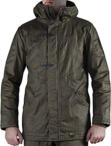 Musterbrand Halo Veste d'hiver Homme Flight Deck Officer Heavy Water Repellent Parka Field Jacket Coat Vert XXL