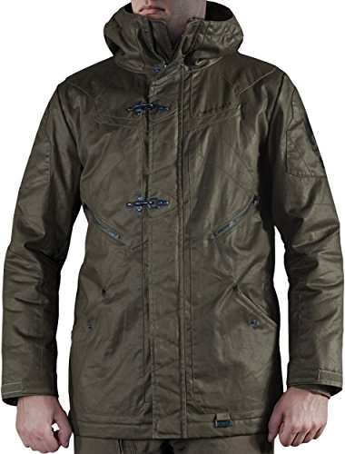 Musterbrand Halo Winter Jacke Herren Flight Deck Officer Parka Mantel Grün L (Halo Helm Kostüme)