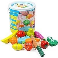 ألعاب مطبخ خشبية قطع الفاكهة والخضروات الملونة، ألعاب الألغاز للأطفال والملصقات السحرية للتعليم المبكر للأطفال