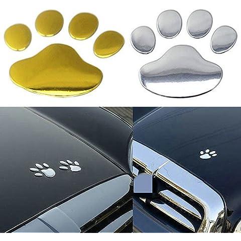 NdB y 1061-Pata de [] ORO par 3D Sticker adhesivo para coche Moto camiones caravana-Alta calidad No dan-Pintura-extraíble-6 x 7 cm, diseño de pata (simple)
