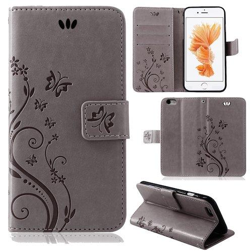 betterfon | Flower Case Handytasche Schutzhülle Blumen Klapptasche Handyhülle Handy Schale für Apple iPhone 5 / 5s / SE Pink Grau