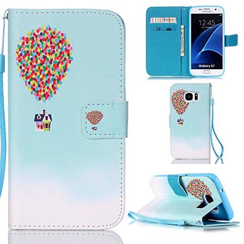 "Ooboom® iPhone 7 4.7"" Hülle Flip PU Leder Schutzhülle Handy Tasche Case Cover Wallet Standfunktion mit Kartenfächer Trageschlaufe - Eule Feuer Ballon"