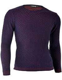 D&R Fashion Hommes Pull Sweatshirt Slim Fit Violet Rouge Casual Vêtements d'hiver de l'événement