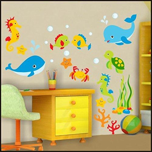 Autocollants muraux avec motif de poissons du monde sous-marin - Pour chambre d'enfants - Autocollant art mural 922, multicolore, 150cm / 42cm