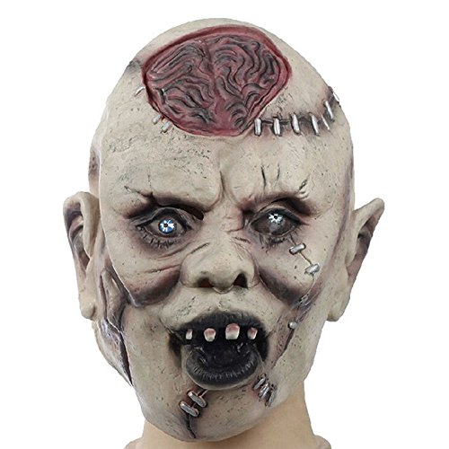 Gruselig Karneval Kostüm - EROSPA® Gruselige Horror Gesichts-Maske Schädel Zombie Karneval Fasching Kostüm Latex Scary