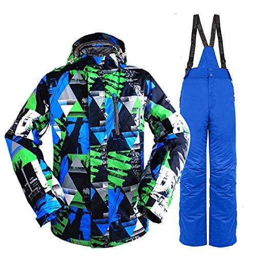 Joey Herren Skianzüge Winter Kälteschutz Warmhalten Bergsteigeranzug Furnier Doppeldecker Skijacke Hose, blau und grün Camouflage Top + Saphirblau, XL