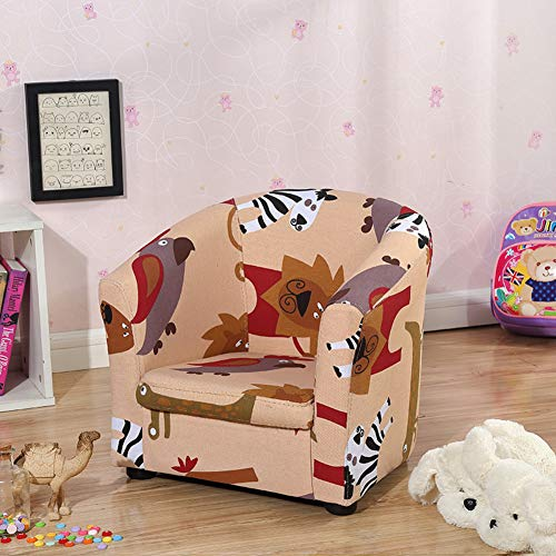 Love Home Kleine Sessel,Mini-Jacquard gepolstert Kinderstuhl Weiche personalisiert Kinder Stuhl Für Wohnzimmer-Brown 43x37x41cm(17x15x16)