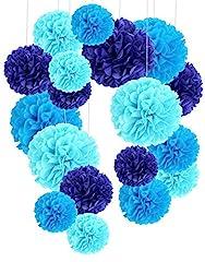 Idea Regalo - Recosis - Set di 18 pon pon di carta decorativa, per compleanno, matrimonio, baby shower, feste, decorazioni principali e feste, blu scuro, blu e azzurro