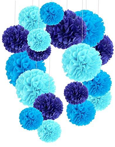 Recosis 18 Stück Seidenpapier Pompoms Blumen Ball Dekorpapier Kit für Geburtstag Hochzeit Baby Dusche Parteien Hauptdekorationen und Partei Dekoration - Dunkelblau, Blau und Hellblau