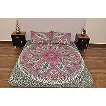 Indian Rosa Verde Urban Outfitters de Cachemira Mandala Tapiz Colgar en la Pared Manta Colcha Gypsy, Boho Queen Doble doona Funda de Edredón y 2 Funda de ...