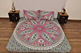 Indian Pink Grün Urban Paisley Outfitters Wandteppich Mandala Überwurf Tagesdecke Gypsy, Boho Queen Doppelbett Doona & 2Kissen Fall Set 100% Baumwolle 233,7x 213,4cm.