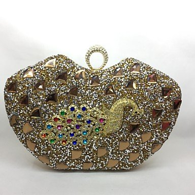 pwne Frauen Abend Tasche Metal All Seasons Event / Party Jede Form Push Lock Silber Gold Gold