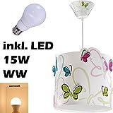 LED Lampe Kinderzimmer Decke Pendelleuchte Schmetterling 62142 Warmweiß 1600lm Mädchen