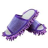 Moolecole Weich Sauber Hausschuhe Reinigungstuch Pantoffel Putz-Hausschuhe Bodenpolierwerkzeuge Shoe Cover Abstauben Floor Cleaner Reinigung EU size 35/37 Lila