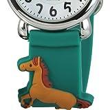 Tee-Wee Mädchen-Armbanduhr mit Pferd grün Kinder-Uhr Kautschuk-Band D1UW767G -