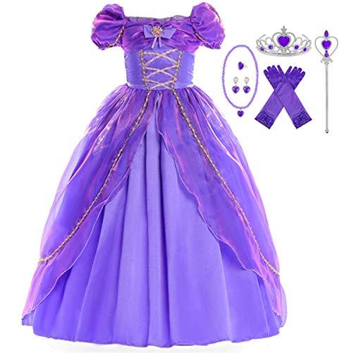 Kostüm Disney Up Rapunzel Dress - EMIN Kinder Mädchen Prinzessin Rapunzel Kleid Tutu Kostüm Verkleidung Geburtstag Party Ankleiden Karneval Faschingskostüm Halloween Hochzeit Festkleid Blumenmädchenkleid Abendkleid Maxikleid Lila