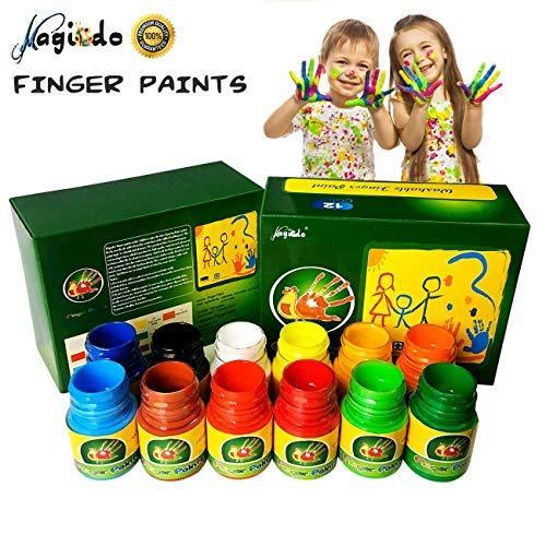 Magicdo Fingerfarben Kinder Ungiftig 12 Farben Waschbar Fingermalfarben Kleinkind Finger Paint Set, Fingermalfarben für Kinder DIY, geeignet zum Malen in Kindergarten, Schule, Therapie und zu Hause -