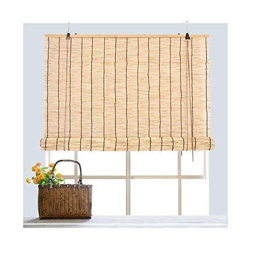 GDMING Schilfrohr-Vorhang für drinnen und draußen, Bambus, mit Haken für Tee-Raum-Trennwand, Küche, Büro, Größe anpassbar, Bambus, a, 1.2x2m