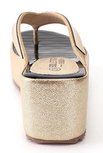 AgeeMi Shoes Femmes Slip On Plateforme Bout Ouvert Sandales à Coin Doré (EuL15)