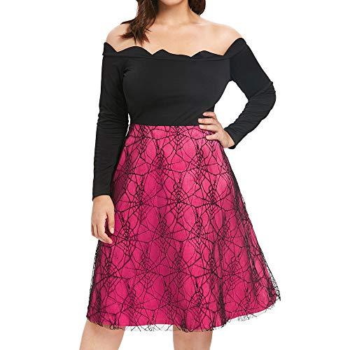 Halloween Schulterfrei Swing Kleid MYMYG Printed Langarm Vintage Kleid Party Kleid Blusen Kleider...