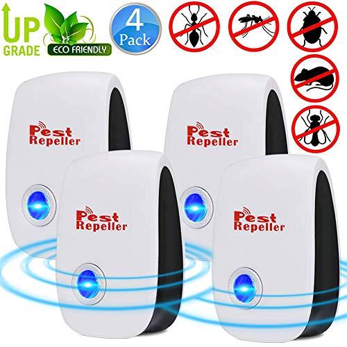 BESTZY Ultrasuoni Repeller, Antizanzare Repellente Insetti Ultrasuoni - beseitigen Mouse,Mouse,cimici - 100% Sicuro per Persone e Animali Domestici (4pack)