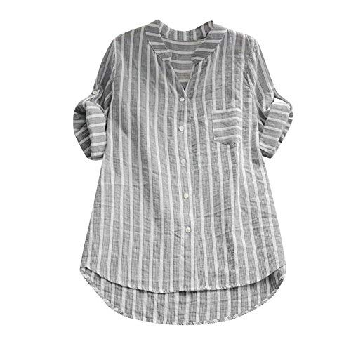 iHENGH Damen Sommer Bequem Mantel Lässig Mode Jacke Frauen mit Langen Ärmeln Vintage Floral Print Patchwork Bluse Spitze Splicing Tops -