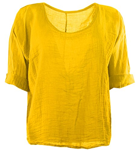 Femmes italienne Quirky Lagenlook lin uni Comfy Casual Mesdames Blouse Crop Top Tailles Plus Moutarde