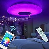 Plafonnier LED Lampes De Plafond 60w Avec Haut Parleur Bluetooth Télécommande APP Lampe Musicale, Couleur Luminosité Réglable