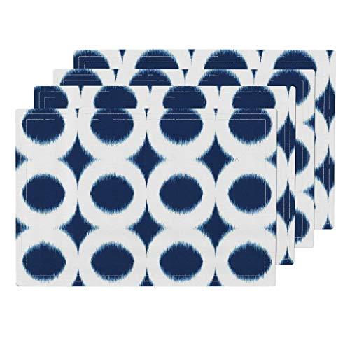Promini Hitzebeständige Platzsets, maritimes Ikat, Marineblau, rund, waschbar, Polyester, Rutschfest, waschbar, Platzsets für Küche und Esszimmer, 4 Stück - Suntouch Mat