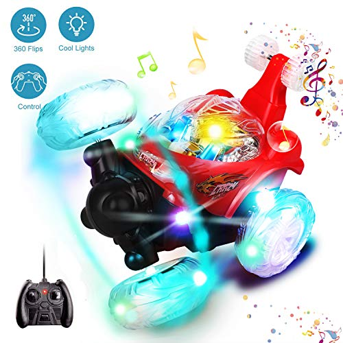 Swonuk Ferngesteuertes Auto, 360° Wiederaufladbar RC Stunt Auto Rennauto mit Musik und LED-Licht, Auto Spielzeug Rennfahrzeug für Kinder Jungen Mädchen