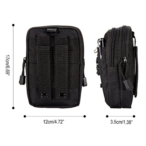 Wiel per Molle Tactical-Cintura Casual per Sport, Cover per Iphone 6 Plus, per Samsung Galaxy Note Nero