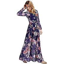 Moollyfox Mujer Vestido Largo Estampado Floral Manga Larga Gasa Vestido Maxi Armada L