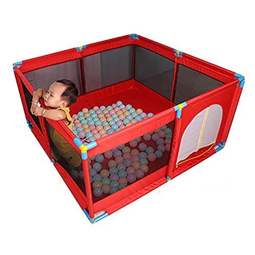 Baby Playpen Kids Activity Center Sécurité Play Yard Home Intérieur Extérieur Clôture avec Balle et Tapis, Hauteur 66cm, Rouge (Couleur : Playpen+200 Balls+Mat)