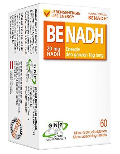 BENADH - Energie den ganzen Tag lang - 20 mg NADH pro Tablette - 60 Mikro-Schlucktabletten -