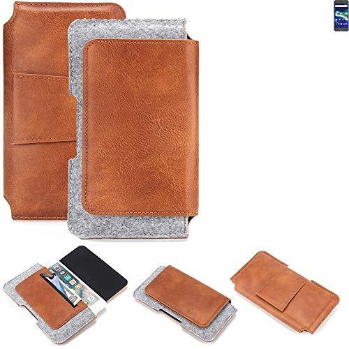 K-S-Trade für General Mobile GM 6 Gürteltasche Schutz Hülle Gürtel Tasche Schutzhülle Handy Smartphone Tasche Handyhülle PU + Filz, braun (1x)